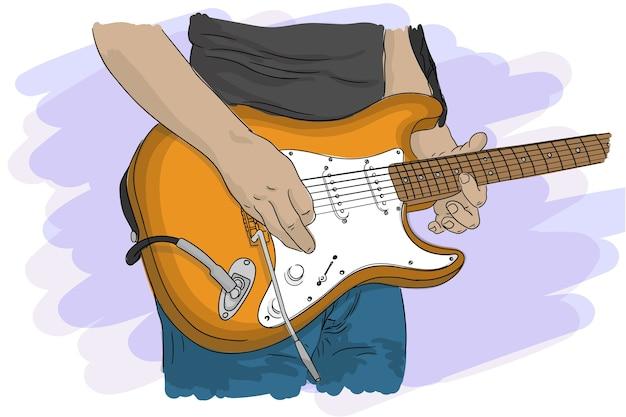 Un musicista suona una chitarra elettrica con le corde in un concerto, primo piano. Vettore Premium