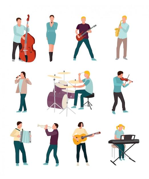 Set di caratteri di musicisti e cantanti isolato su bianco Vettore Premium