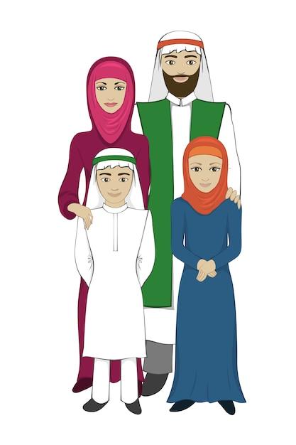 Concetto di famiglia musulmana, stile piano Vettore Premium