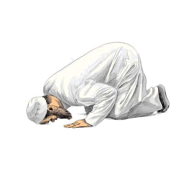 Uomo musulmano che prega, schizzo disegnato a mano. illustrazione di vernici Vettore Premium