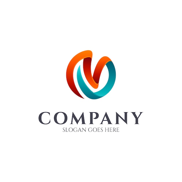 Mv monogram logo design Vettore Premium