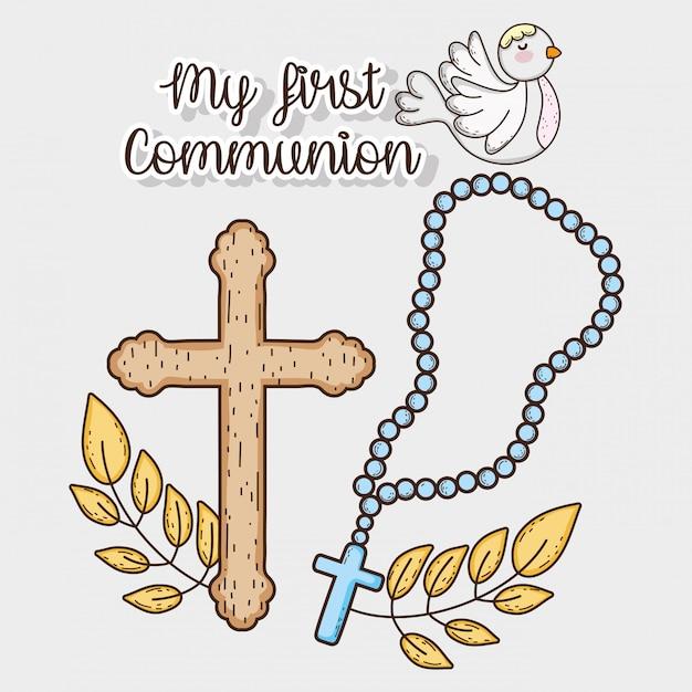 La mia prima comunione con il rosario croce e colomba Vettore Premium