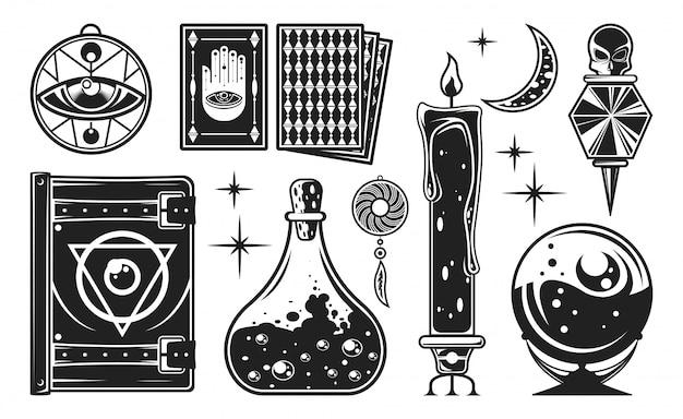 Set monocromatico mistico. Vettore Premium
