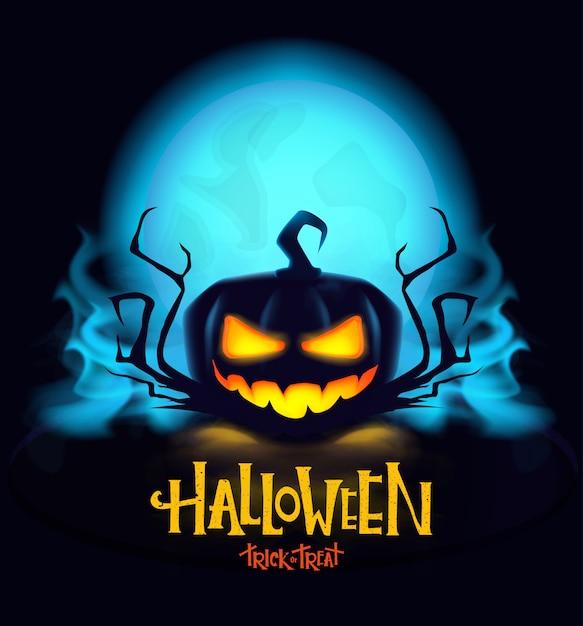 Zucca mistica di halloween con gli occhi ardenti. Vettore Premium