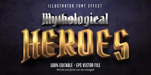 Testo di mytological heroes, effetto font modificabile in stile metallico oro 3d e argento Vettore Premium
