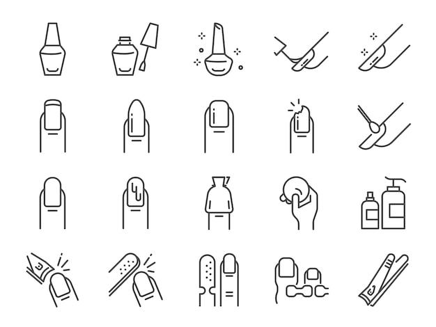 Set di icone di salone di smalto per unghie. Vettore Premium