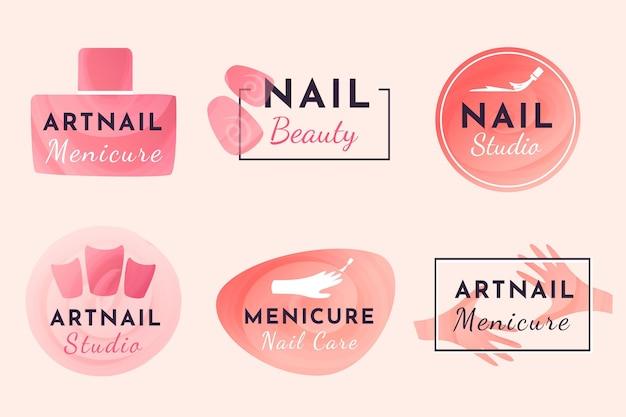 Design della collezione di logo di nail art studio Vettore Premium