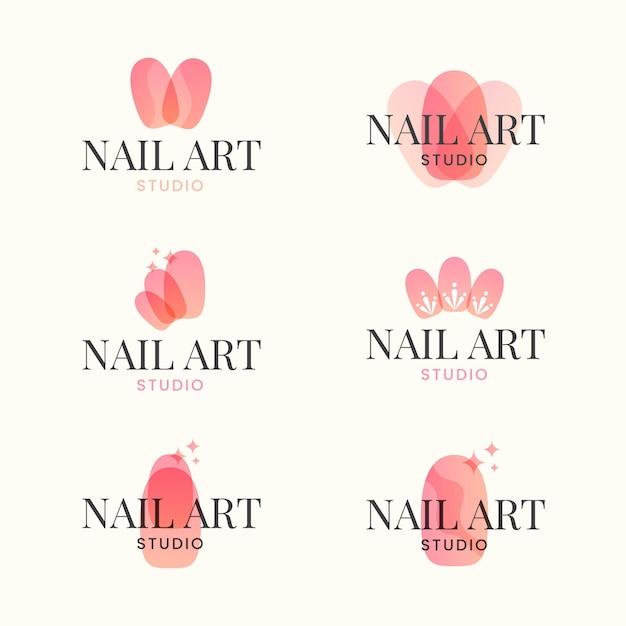 Collezione di logo di unghie art studio Vettore Premium