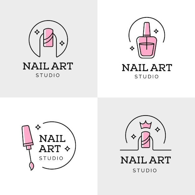 Collezione di logo di nail art studio Vettore Premium