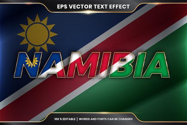 Namibia con la sua bandiera nazionale del paese, stile effetto testo modificabile con concetto di colore oro Vettore Premium