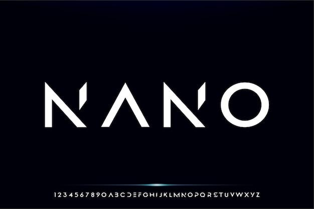Nano, un carattere alfabeto futuristico astratto con tema tecnologico. moderno design tipografico minimalista Vettore Premium