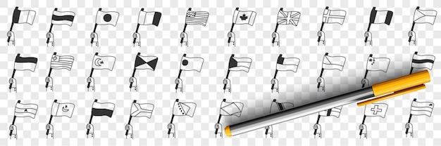 Bandiere nazionali dei paesi doodle insieme Vettore Premium