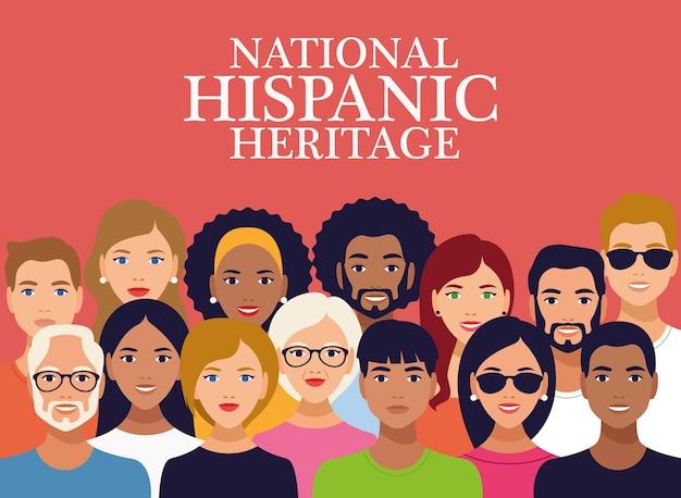 Iscrizione di celebrazione del patrimonio ispanico nazionale con un gruppo di persone. Vettore Premium