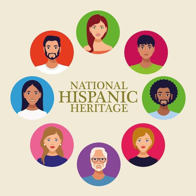 Iscrizione di celebrazione del patrimonio ispanico nazionale con persone in cornice circolare. Vettore Premium