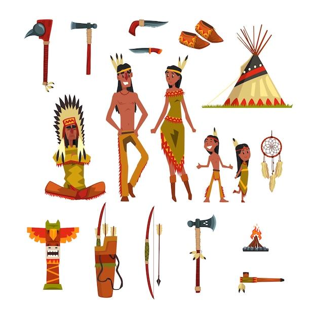 Indiani nativi americani e set di vestiti tradizionali Vettore Premium
