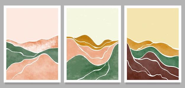 Montagna astratta naturale, foresta, onda sul set. stampa d'arte minimalista moderna di metà secolo. paesaggio estetico contemporaneo astratto. Vettore Premium