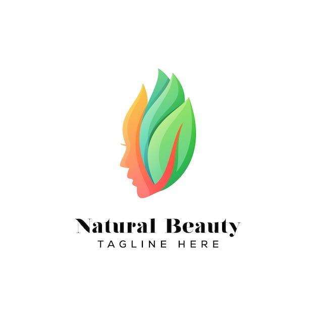 Modello di logo di bellezza naturale ragazza Vettore Premium