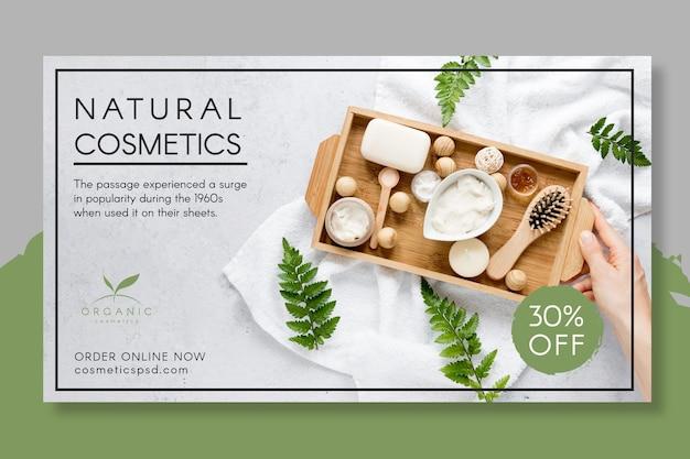 Modello di banner di cosmetici naturali Vettore Premium