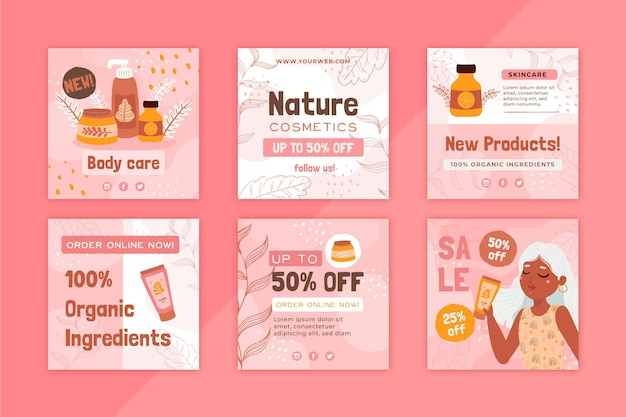 Post instagram per la cura del corpo di cosmetici naturali Vettore Premium