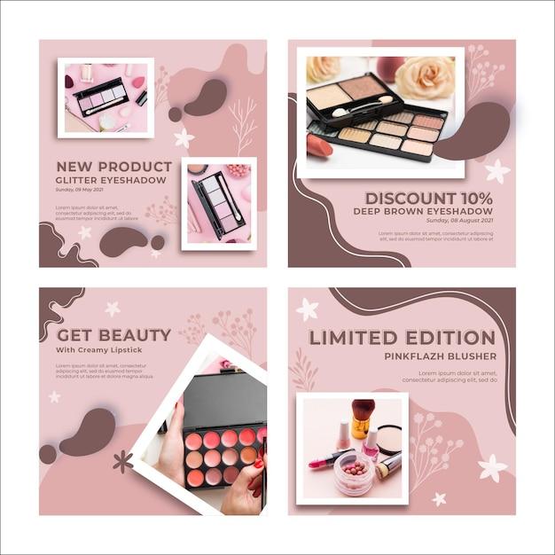 Modello di post instagram cosmetici naturali Vettore Premium