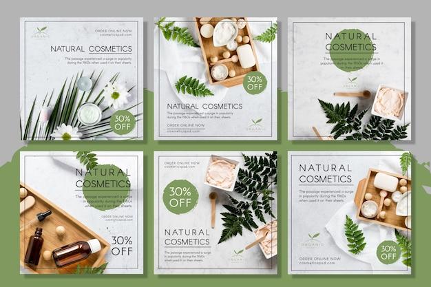 Post instagram di cosmetici naturali Vettore Premium