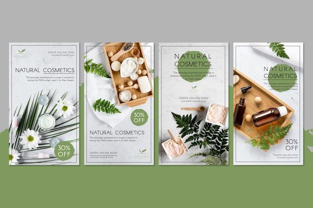 Storie di instagram di cosmetici naturali Vettore Premium