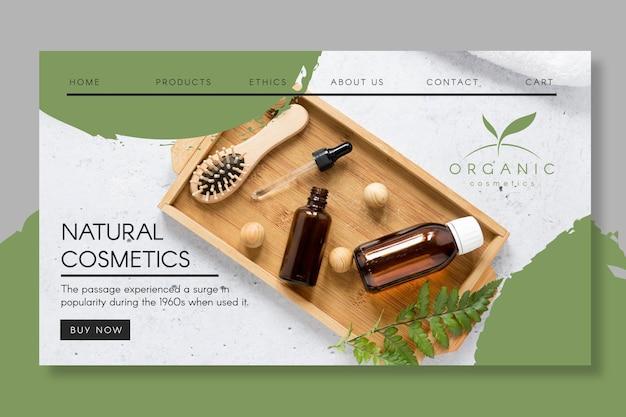 Modello di pagina di destinazione per cosmetici naturali Vettore Premium