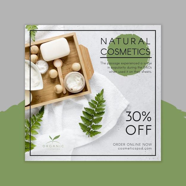 Modello di volantino quadrato cosmetici naturali Vettore Premium