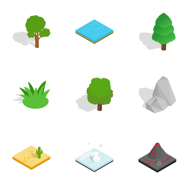 Icone del paesaggio naturale messe, stile isometrico 3d Vettore Premium