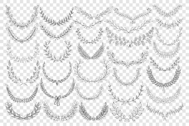 Illustrazione stabilita di doodle di ornamento di foglie naturali Vettore Premium
