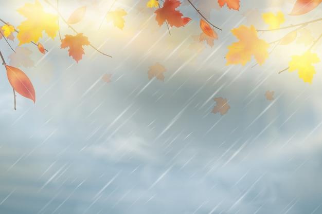 Priorità bassa di autunno della natura con le foglie di acero rosse, gialle, arancioni, marroni che cadono sul cielo. Vettore Premium