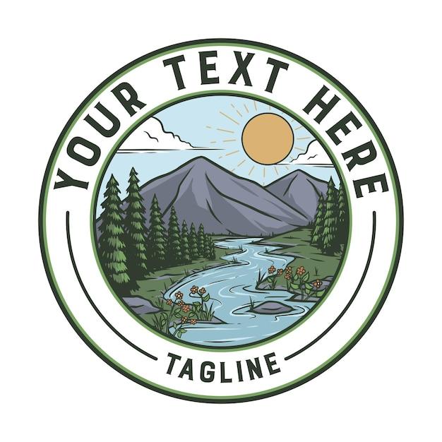 Vintage distintivo della natura. pronto all'uso per qualsiasi esigenza, facile aggiungere il tuo testo Vettore Premium