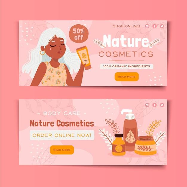Natura cosmetici banner web design Vettore Premium