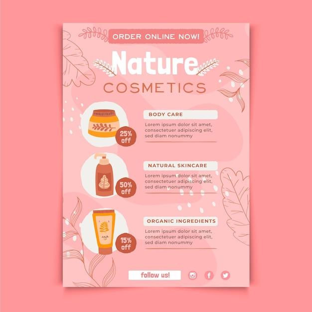 Modello di stampa volantino cosmetici naturali Vettore Premium