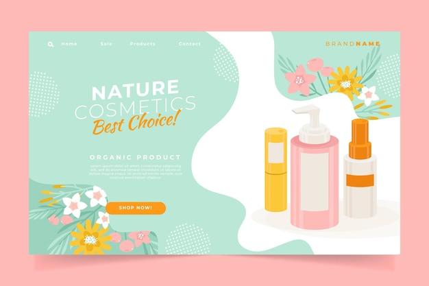 Design della pagina di destinazione dei cosmetici naturali Vettore Premium