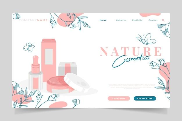 Tema della pagina di destinazione dei cosmetici naturali Vettore Premium