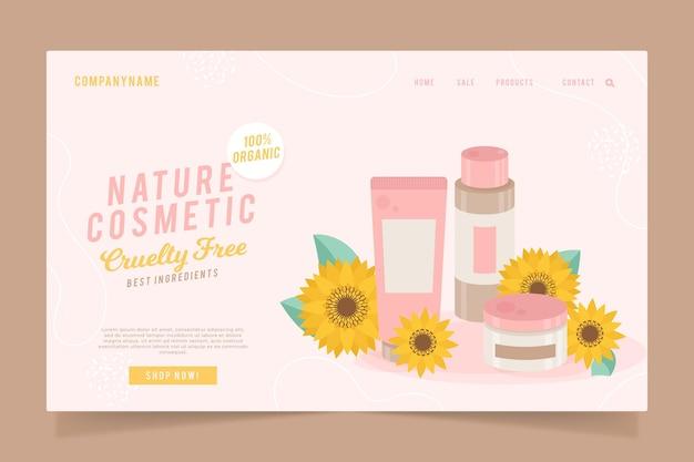 Pagina di destinazione dei cosmetici naturali Vettore Premium