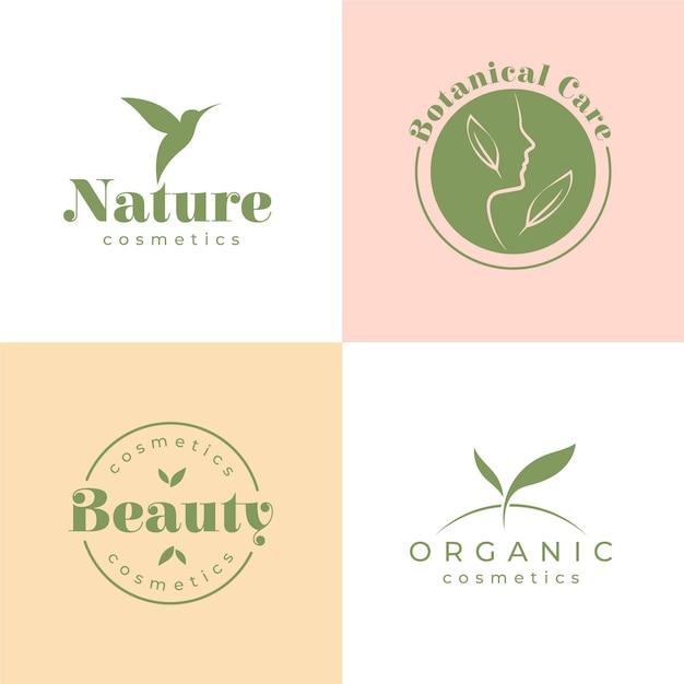 Collezione di logo di cosmetici naturali Vettore Premium