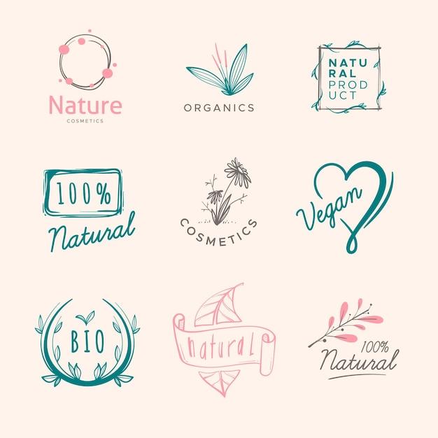 Pacchetto logo cosmetici naturali Vettore Premium