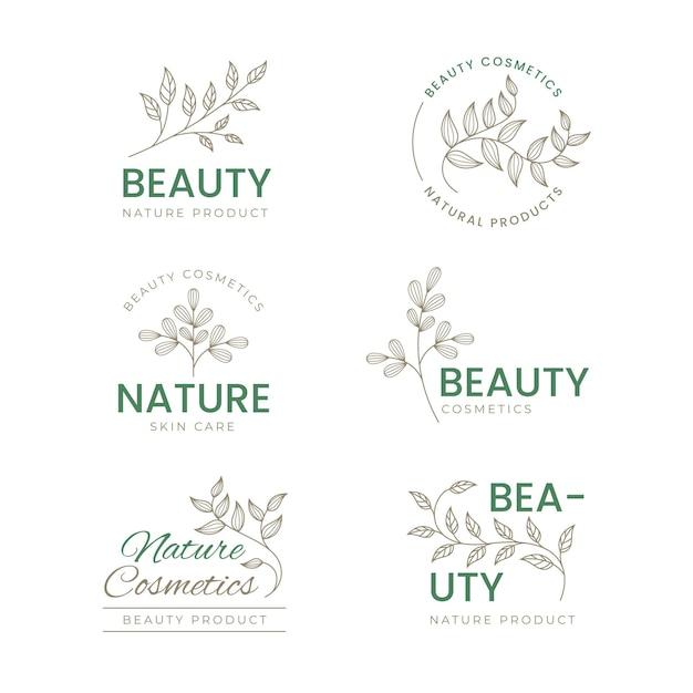 Insieme di logo di cosmetici natura Vettore Premium