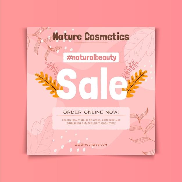 Modello di volantino quadrato di cosmetici naturali Vettore Premium
