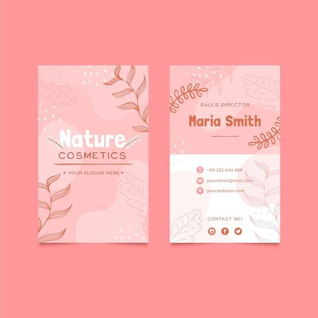 Biglietto da visita verticale di natura cosmetici Vettore Premium