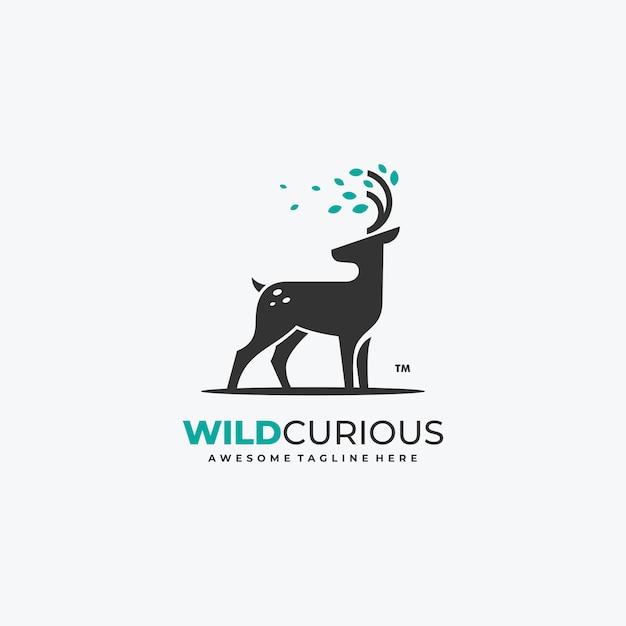 Cervi della natura con foglie logo vettoriale modello Vettore Premium