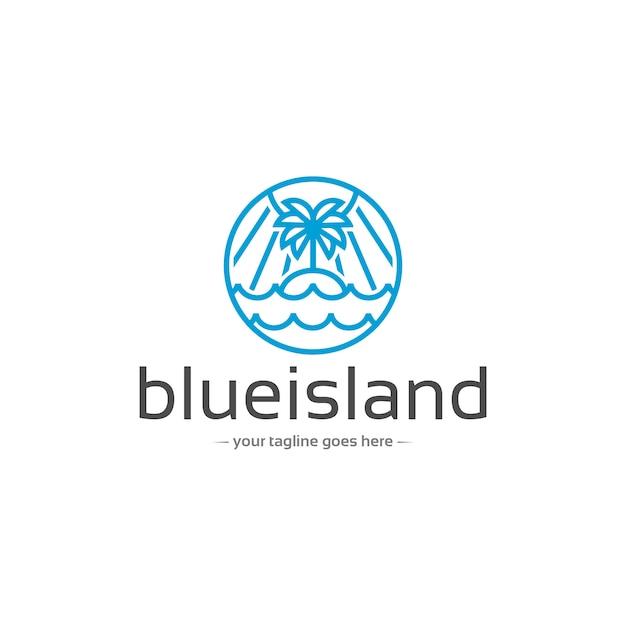 Modello di logo di vettore lineare di natura isola Vettore Premium