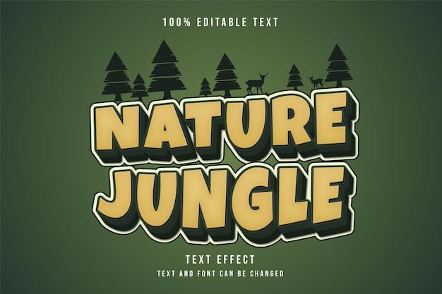 Natura giungla, 3d testo modificabile effetto giallo gradazione verde stile testo comico Vettore Premium