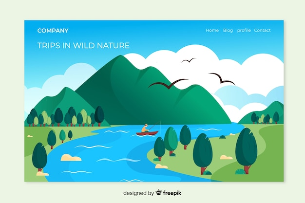 Pagina di destinazione natura con paesaggio Vettore Premium