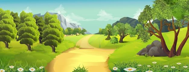 Natura sullo sfondo del paesaggio Vettore Premium