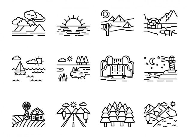 Set di icone del paesaggio della natura. linea stile stock vettoriale. Vettore Premium