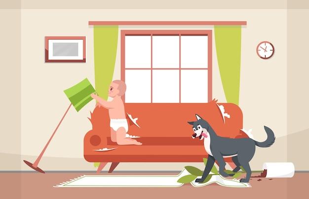 Cane cattivo e illustrazione semi curiosa del bambino Vettore Premium
