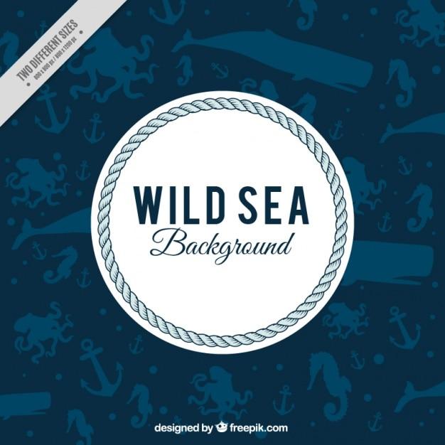 Sfondo nautico con animali marini Vettore Premium